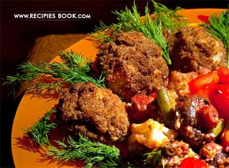 Куриные котлеты в духовке из отварного мяса с грибами