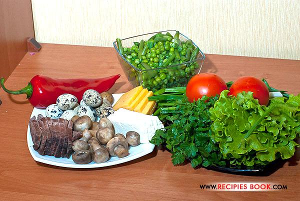 салат с перепелиными яйцами фото